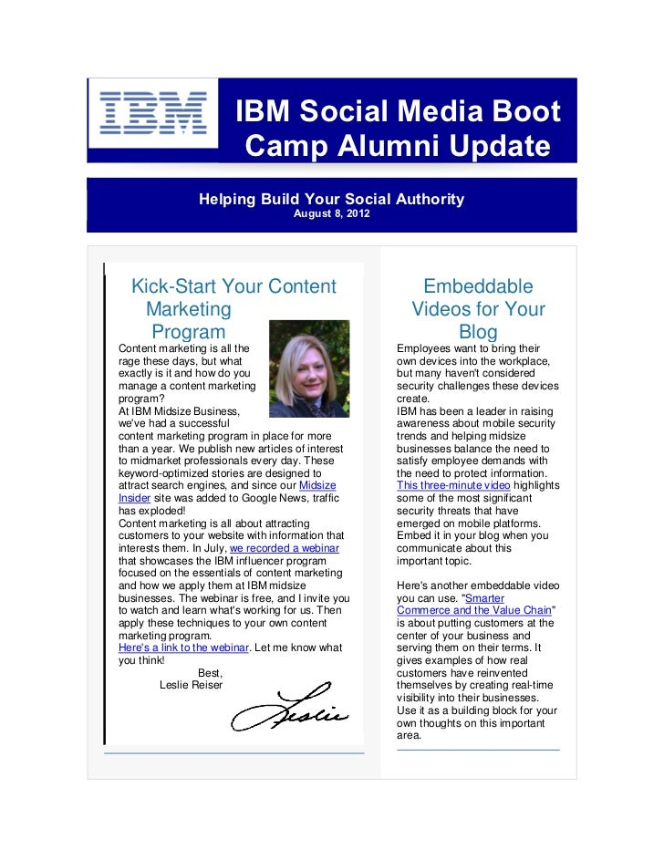 IBM Social Media Boot                         Camp Alumni Update                 Helping Build Your Social Authority      ...