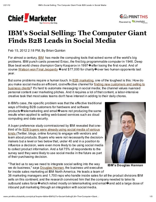 2/21/12                            IBMs Social Selling: The Computer Giant Finds B2B Leads in Social Media                ...