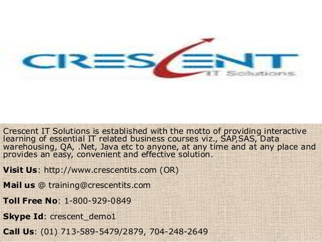 Crescent IT Solutions is established with the motto of providing interactive learning of essential IT related business cou...