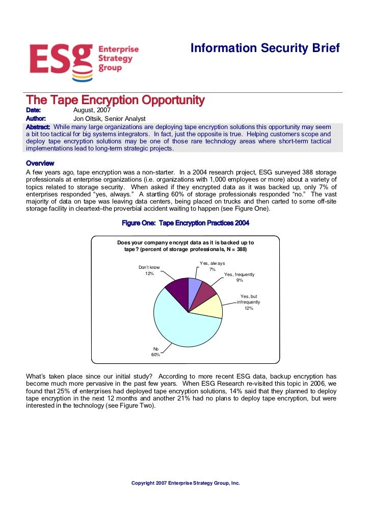 Information Security BriefThe Tape Encryption OpportunityDate:           August, 2007Author:         Jon Oltsik, Senior An...