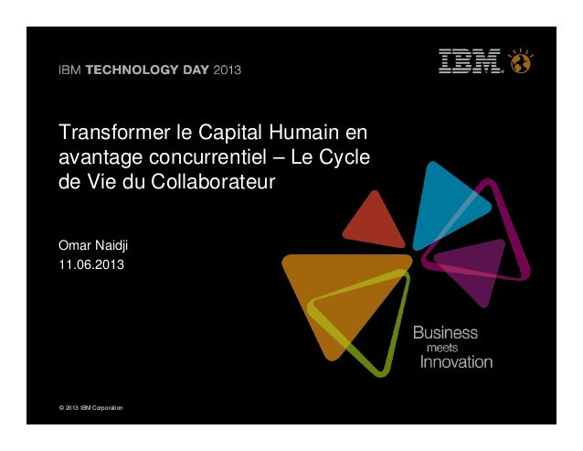 © 2013 IBM Corporation© 2013 IBM CorporationTransformer le Capital Humain enavantage concurrentiel – Le Cyclede Vie du Col...