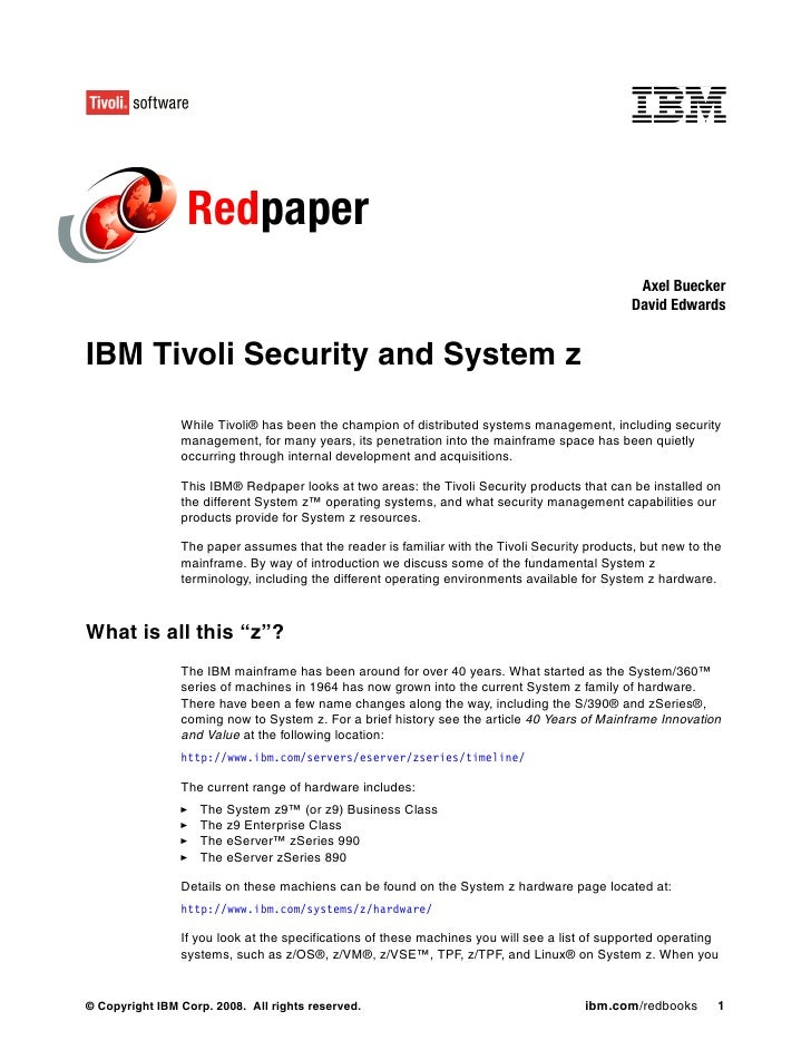 Ibm tivoli security and system z redp4355