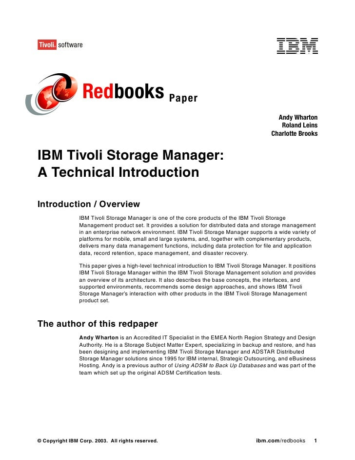 Ibm tivoli storage manager a technical introduction redp0044