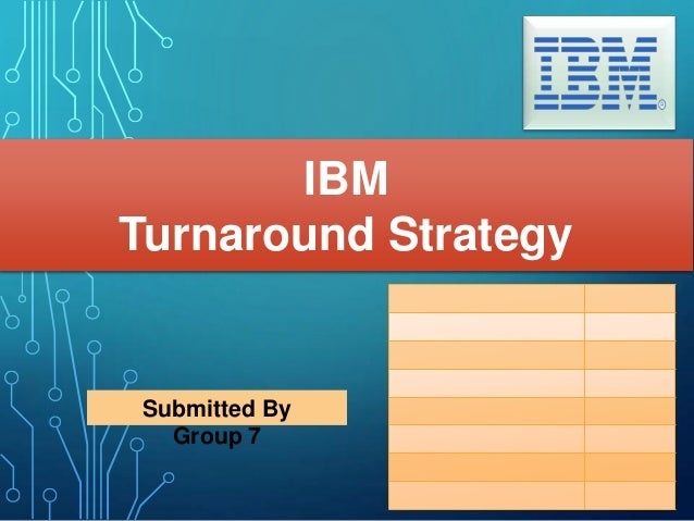 Submitted By Group 7 IBM Turnaround Strategy