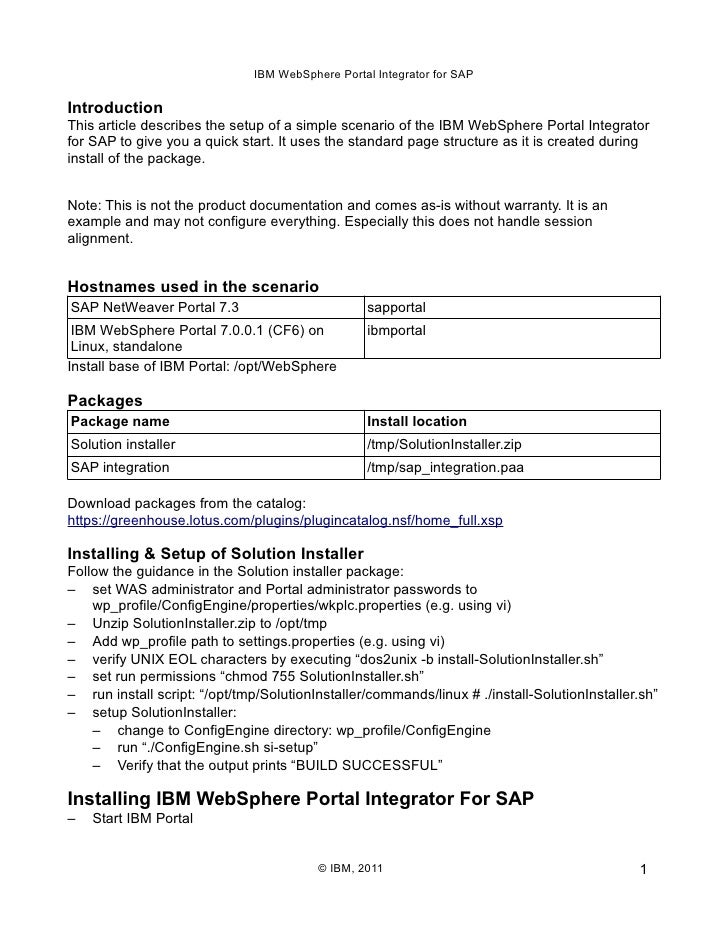 IBM WebSphere Portal Integrator for SAP - Escenario de ejemplo.