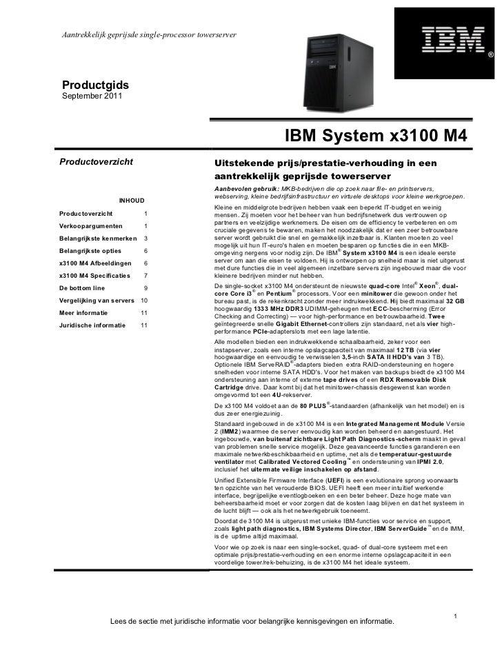 IBM x3100 m4 product gids nederlands 2011-09