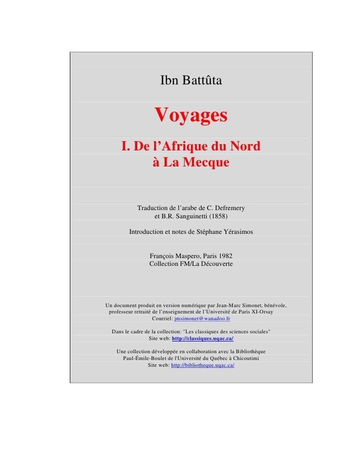 Ibn battuta - voyages t1