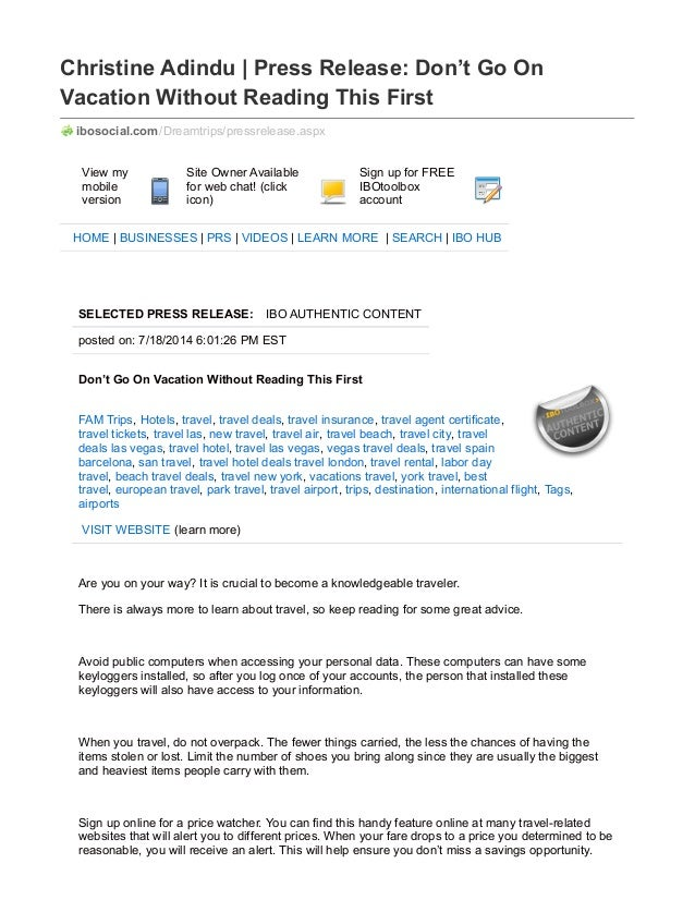 Christine Adindu | Press Release: Don't Go On Vacation Without Reading This First ibosocial.com/Dreamtrips/pressrelease.as...
