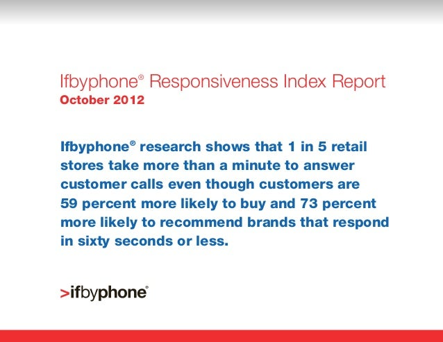 Ifbyphone Responsiveness Index Report           ®October 2012Ifbyphone® research shows that 1 in 5 retailstores take more ...