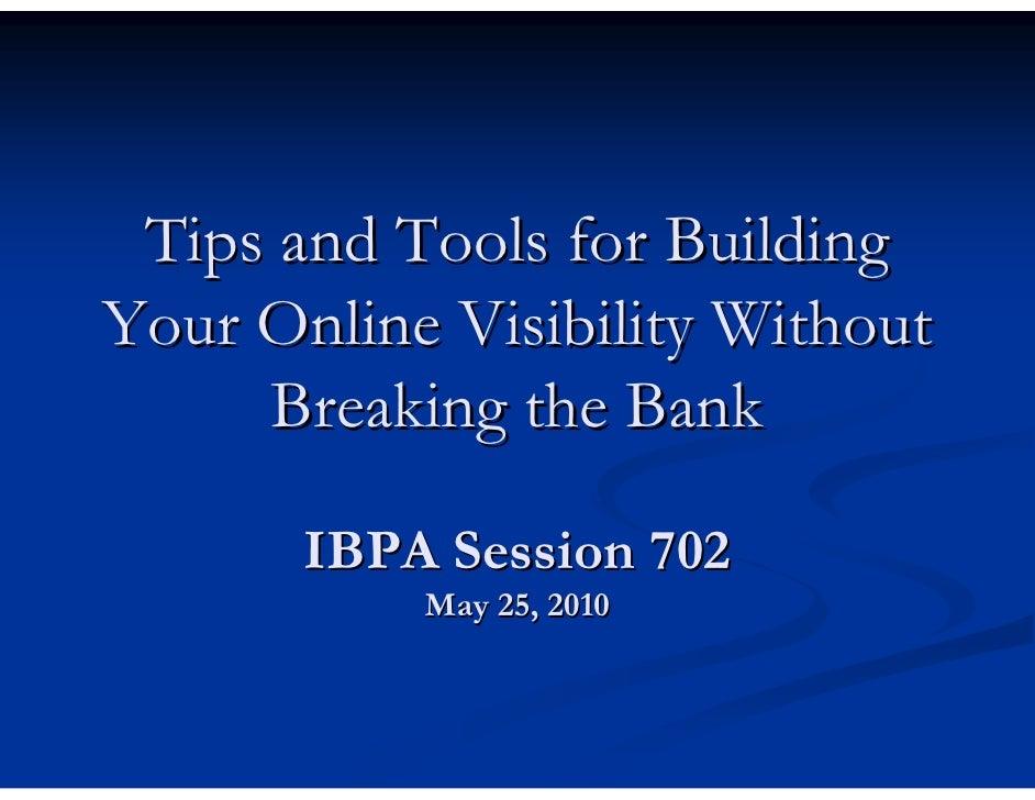 IBPA University 052510 -Session 702