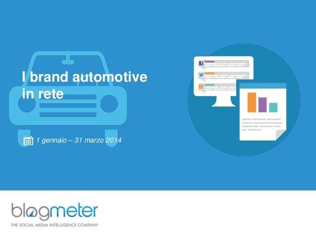 I brand automotive in rete 1 gennaio – 31 marzo 2014