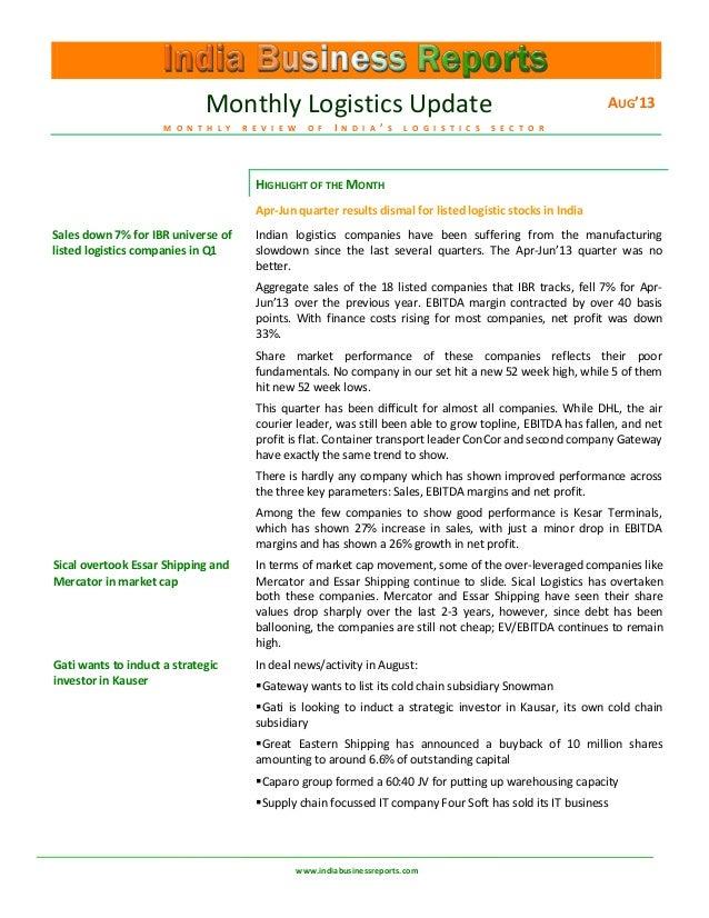IBR India Logistiscs Newsletter Aug'13