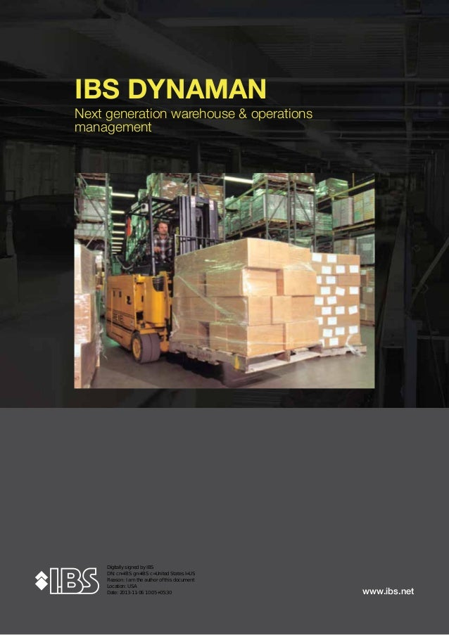 IBS DYNAMAN Next generation warehouse & operations management  www.ibs.net