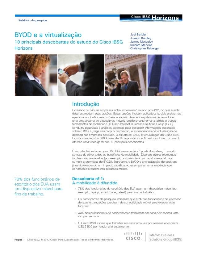 BYOD e a virtualizaçã, 10 principais descobertas do estudo do Cisco IBSG
