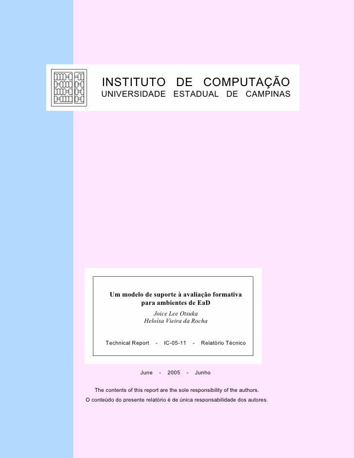 INSTITUTO DE COMPUTAÇÃO       UNIVERSIDADE ESTADUAL DE CAMPINAS              Um modelo de suporte à avaliação formativa   ...