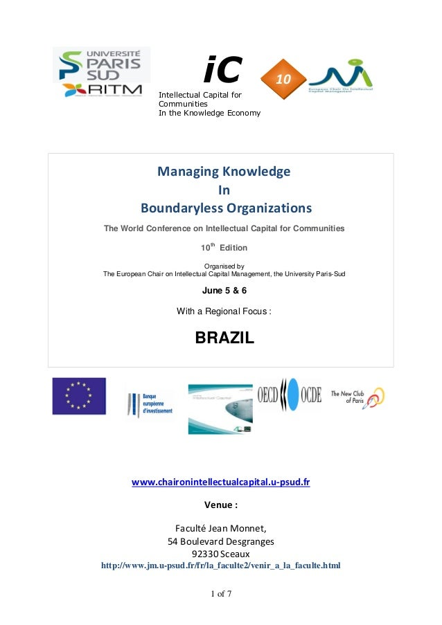 1 of 7 iCIntellectual Capital for Communities In the Knowledge Economy Managing Knowledge In Boundaryless Organizations Th...