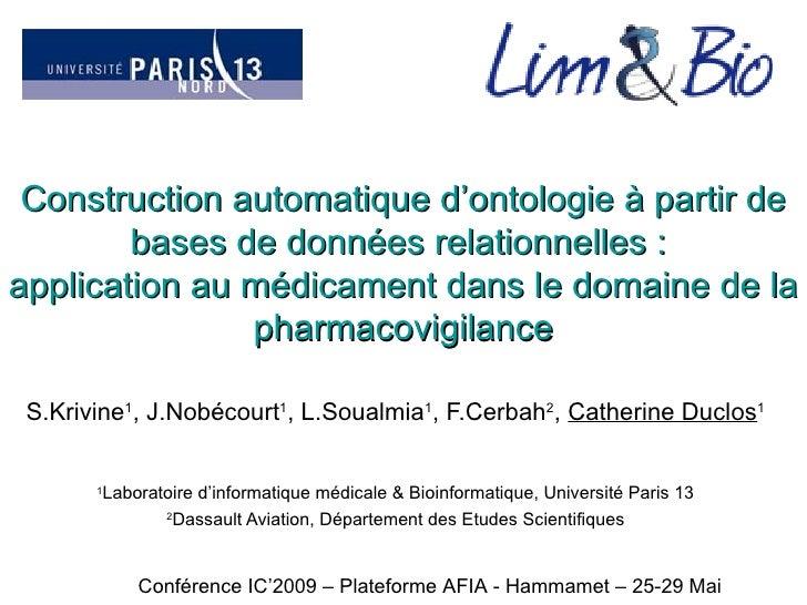 Construction automatique d'ontologie à partir de bases de données relationnelles :  application au médicament dans le doma...