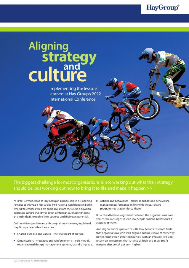 Aligning                              strategy               culture                 Implementing the lessons             ...
