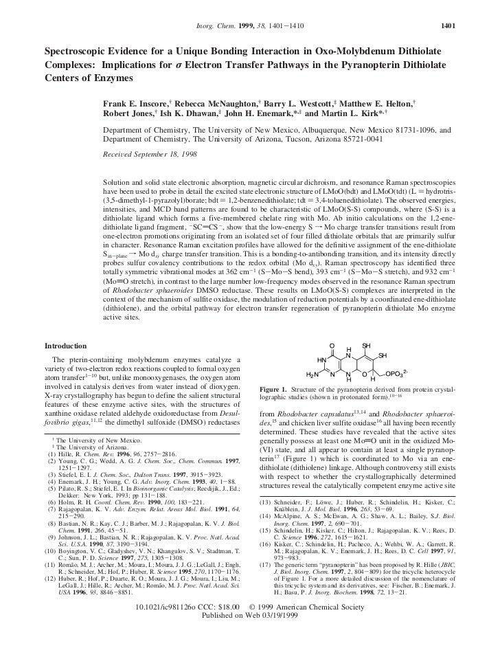 Inorg. Chem. 1999, 38, 1401-1410                                                             1401Spectroscopic Evidence fo...