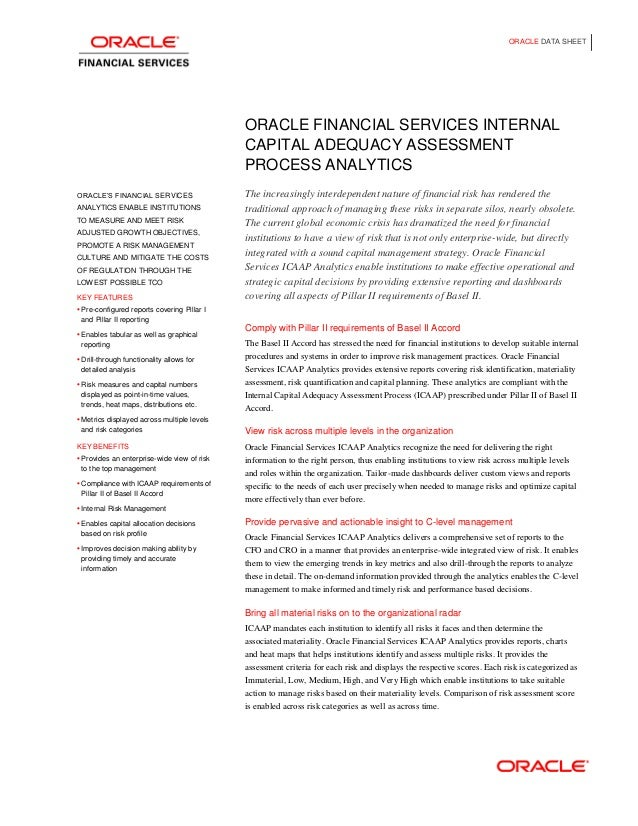 ORACLE DATA SHEET                                             ORACLE FINANCIAL SERVICES INTERNAL                          ...