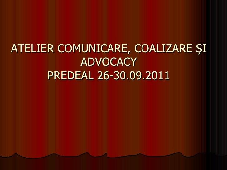 ATELIER COMUNICARE, COALIZARE ŞI ADVOCACY PREDEAL 26-30.09.2011