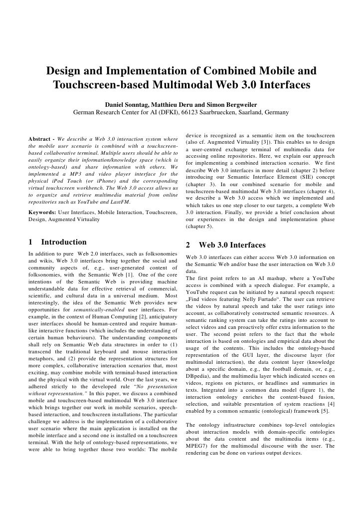 Design and Implementation of Combined Mobile and         Touchscreen-based Multimodal Web 3.0 Interfaces                  ...