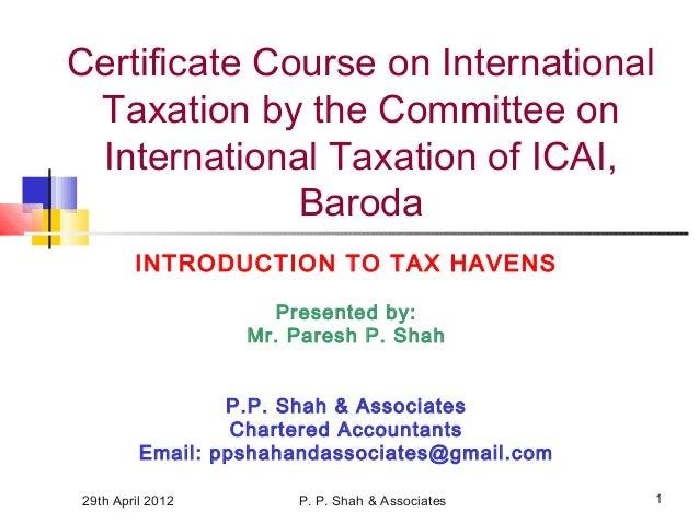 ICAI - Presentation on Tax Havens - 29.04.2012