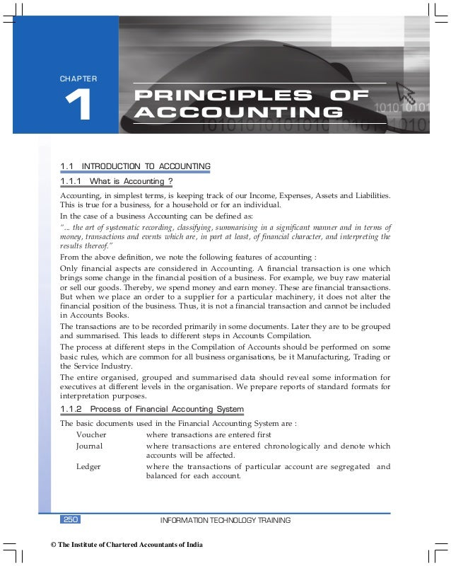 Accounting Package  CHAPTER  1                       PRINCIPLES OF                          ACCOUNTING   1.1     INTRODUCT...