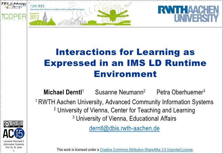 Interactions for Learning as                            Expressed in an IMS LD Runtime                                    ...