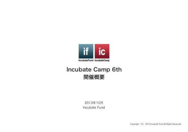 Incubate Camp 6th 開催概要  2013年10月 Incubate Fund  Copyright (C) 2013 Incubate Fund All Rights Reserved.