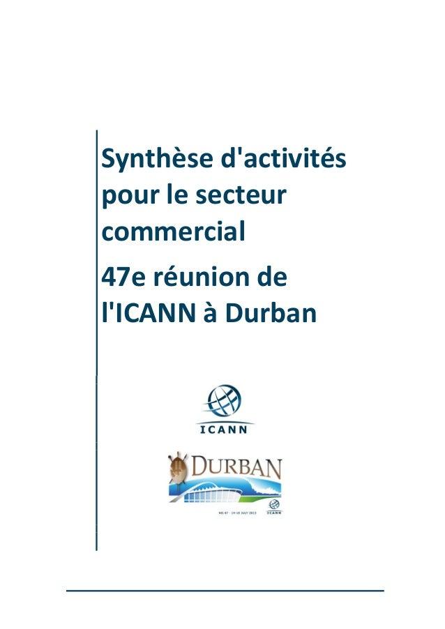 Synthèse d'activités pour le secteur commercial 47e réunion de l'ICANN à Durban