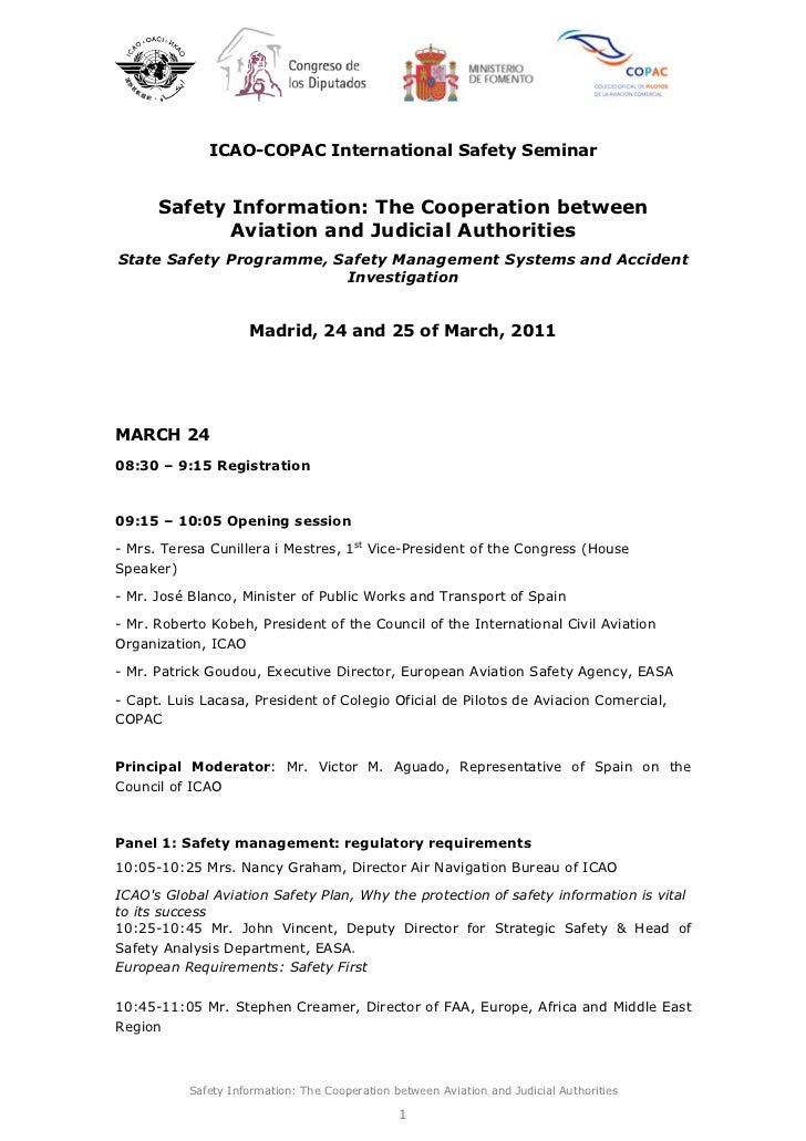 ICAO-COPAC International Safety Seminar      Safety Information: The Cooperation between             Aviation and Judicial...