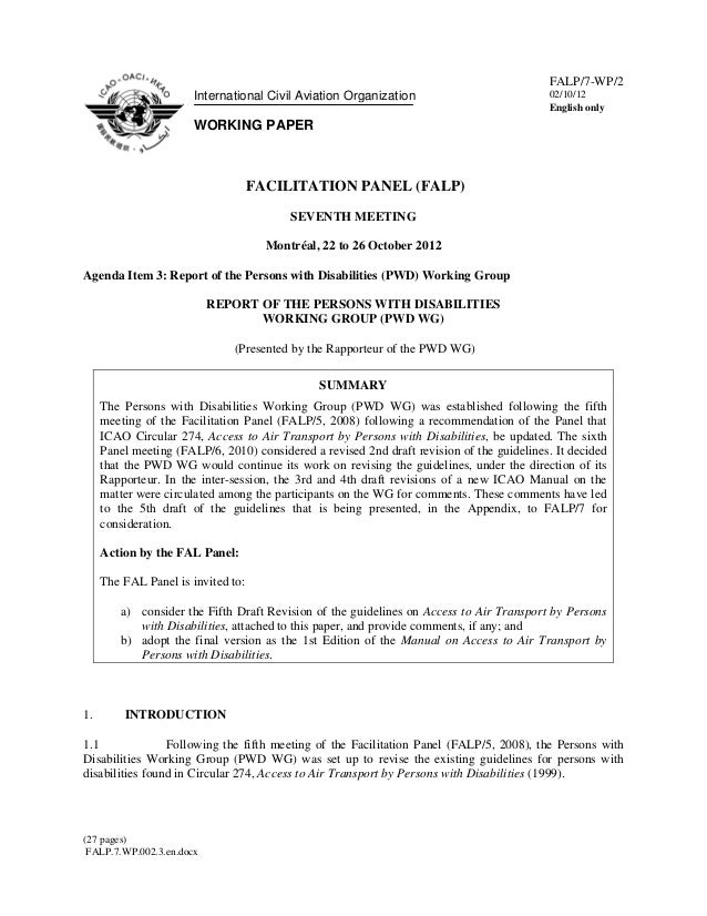 Air Travel & Disabilities - DRAFT WP2 - International Civil Aviation Organization