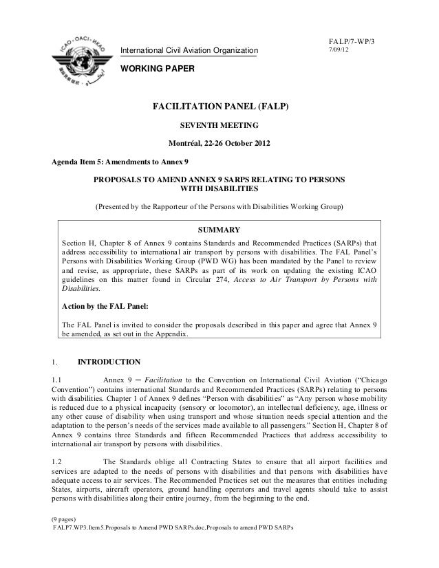 Air Travel & Disabilities - DRAFT WP3 - International Civil Aviation Organization
