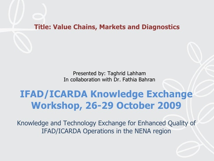 Value Chains, Markets and Diagnostics,Taghrid Lahham and Dr. Fathia Bahran, IFAD-ICARDA