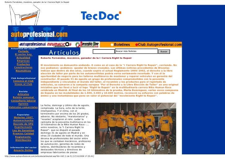 Roberto Fernández, mecánico, ganador de la I Carrera Right to Repair           Actualidad del sector             Portada  ...