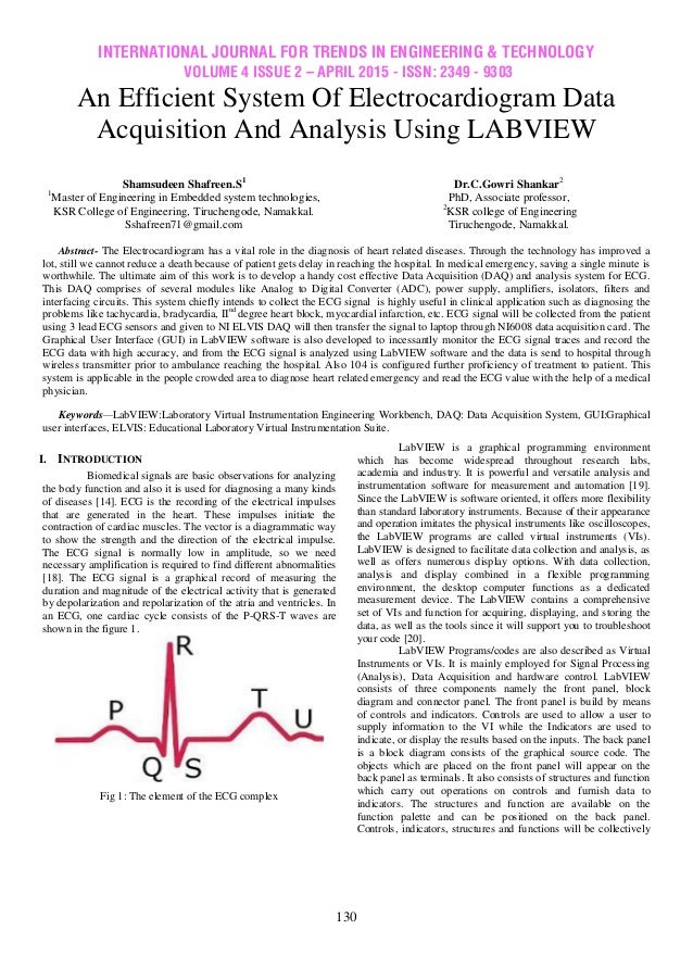 Data Acquisition And Trending : An efficient system of electrocardiogram data acquisition