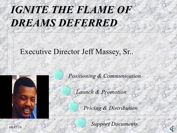 IGNITE THE FLAME OF DREAMS DEFERRED Executive Director Jeff Massey, Sr.. Positioning & Communication Launch & Promotion Pr...