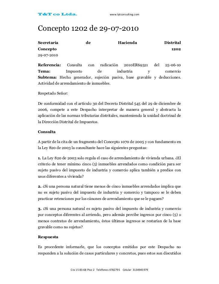 T&T co Ltda.                                   www.tytconsulting.comConcepto 1202 de 29-07-2010Secretaría                 ...