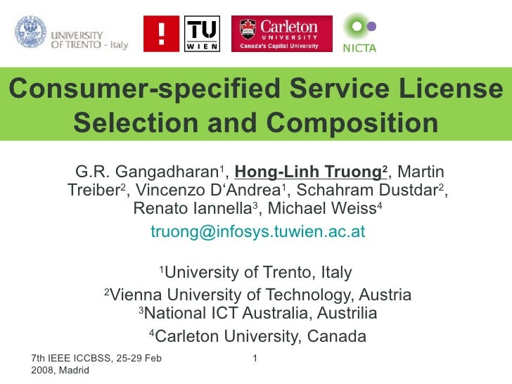 Towards Consumer-specified Service License selection and Composition