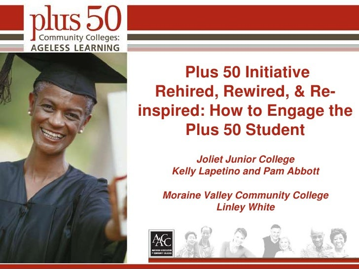 Plus 50 InitiativeRehired, Rewired, & Re-inspired: How to Engage the Plus 50 Student Joliet Junior CollegeKelly Lapetino ...