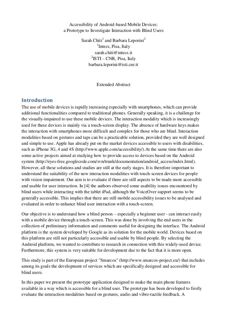 Accessibility of Android-based Mobile Devices:                       a Prototype to Investigate Interaction with Blind Use...