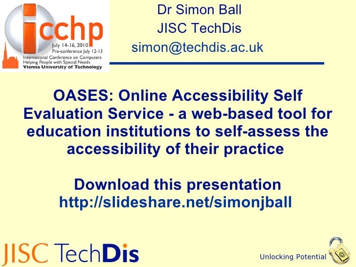 OASES: Online Accessibility Self Evaluation Service - a web-based tool for education institutions to self-assess the accessibility of their practice