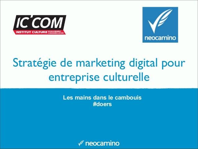 Stratégie de marketing digital pour entreprise culturelle Les mains dans le cambouis #doers
