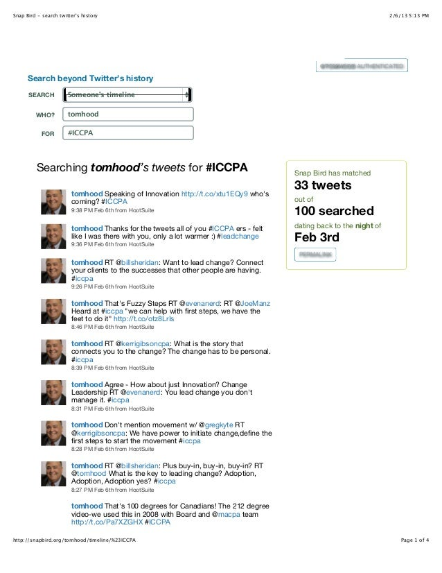 Snap Bird - search twitters history                                                                                 2/6/13...