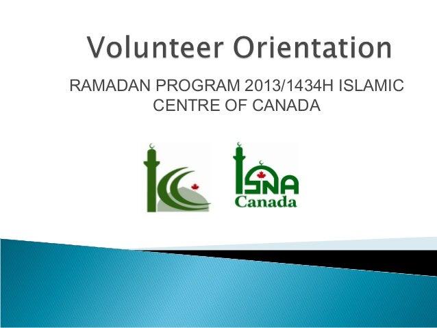 RAMADAN PROGRAM 2013/1434H ISLAMIC CENTRE OF CANADA