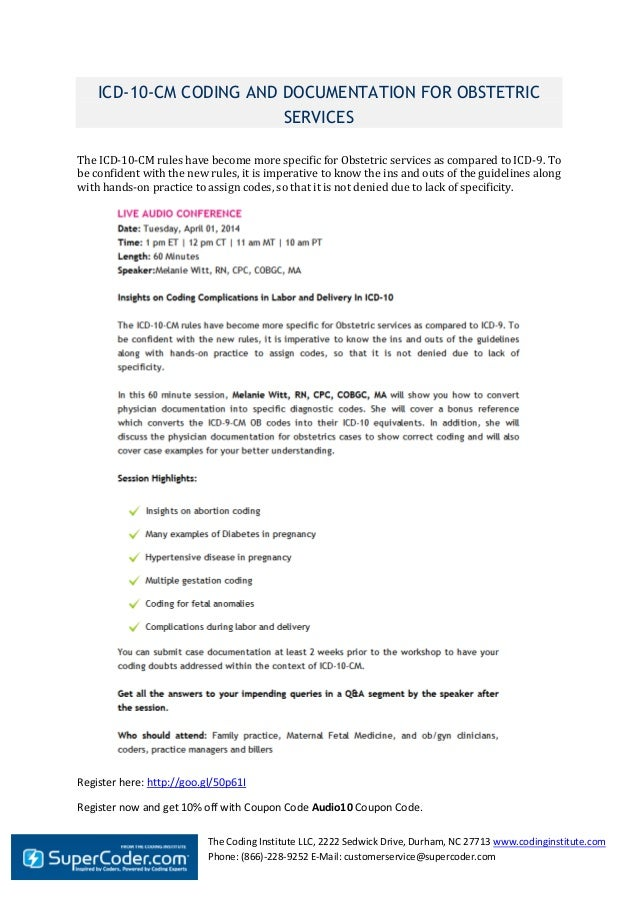 Icd 10-cm coding and documentation for obstetric services