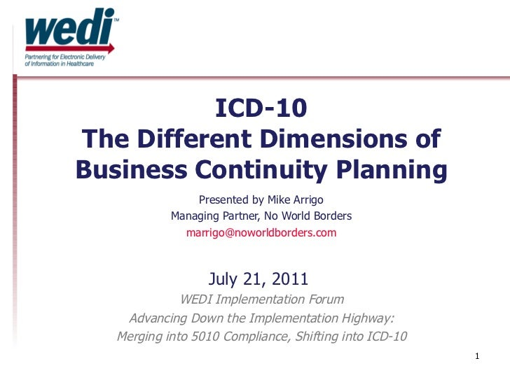 ICD-10 The Different Dimensions of Business Continuity Planning Presented by Mike Arrigo Managing Partner, No World Border...