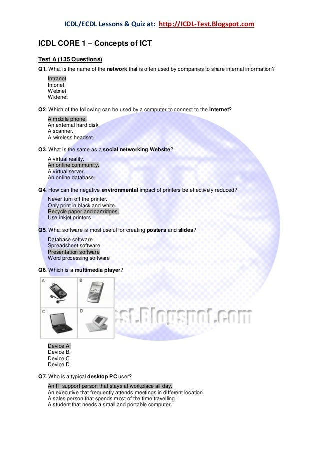 ECDL/ICDL Module 1 - Concepts of ICT (Information and Communication Technology) - Question & Answers