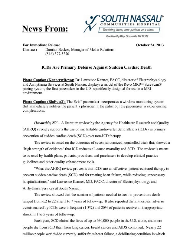 News From: For Immediate Release Contact: Damian Becker, Manager of Media Relations (516) 377-5370  October 24, 2013  ICDs...
